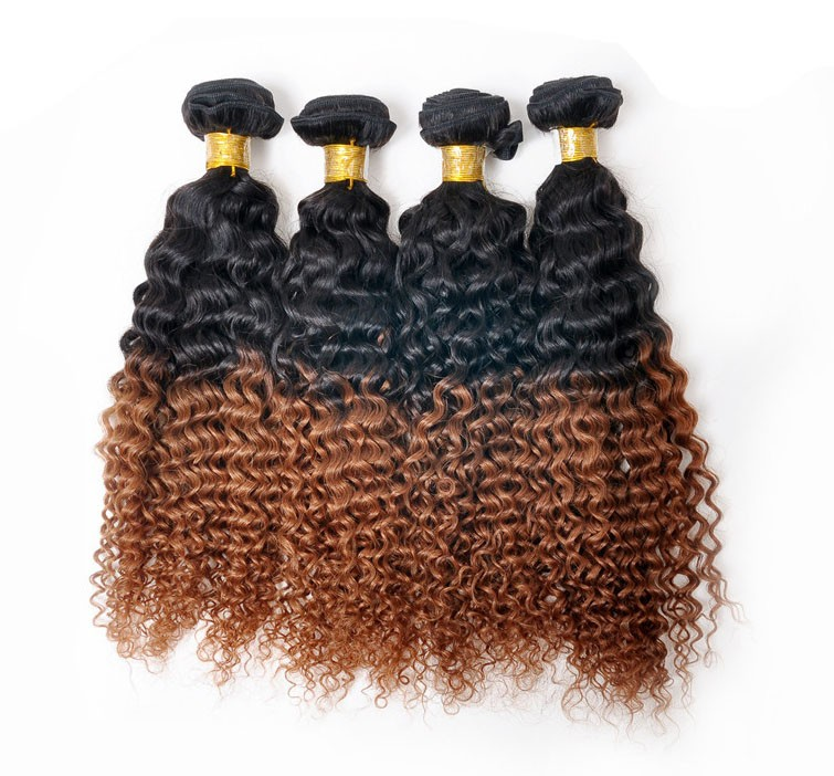 Kinky Curly Ombre Hair 1b30 Malaysian Remy Hair Weave Extensions