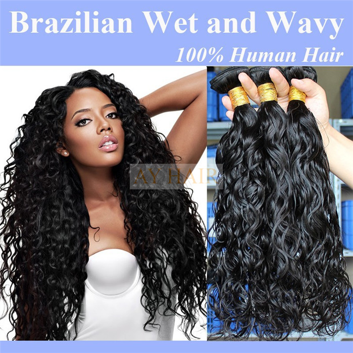 Natural Black Color Popular Style Wet And Wavy Peruvian Virgin Remy