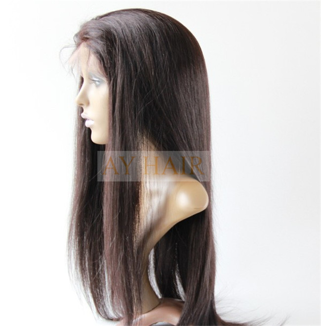 Full lace wig silky striaght natural black color (3)